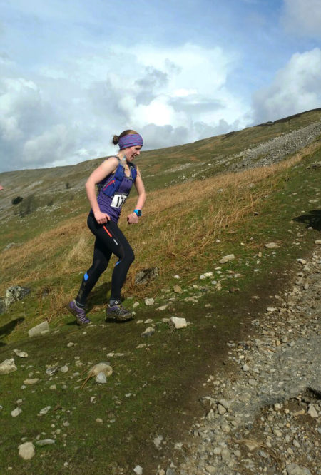 Karin in action, hill running